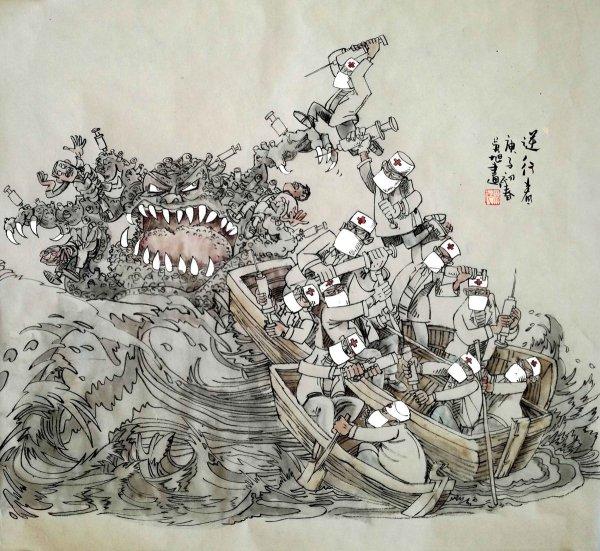 В Китае прошел международный конкурс карикатур на тему коронавируса. Художник из России взял бронзу (15 фото)