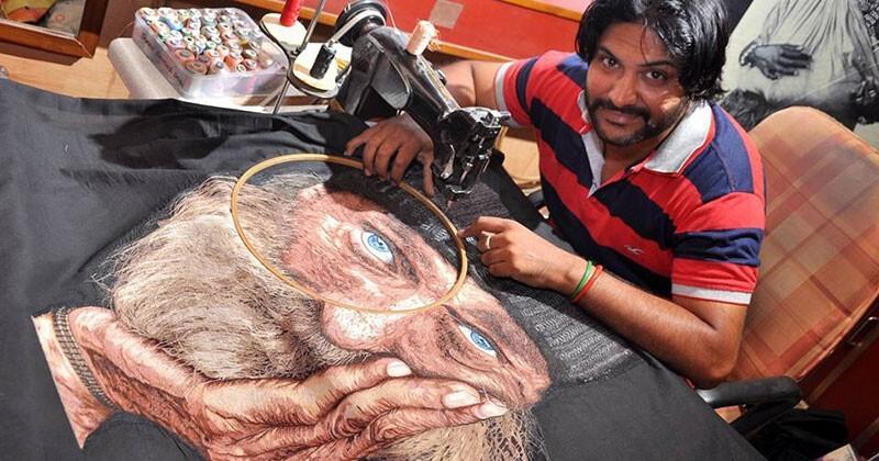 Феноменальный Человек-иголка: индиец вышивает картины на машинке, и они потрясающие (7фото)