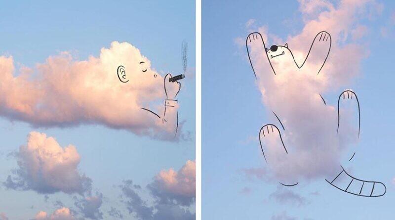 Художник детских книжек ненадолго вернул людей в детство, опубликовав свои облачные рисунки (15фото)
