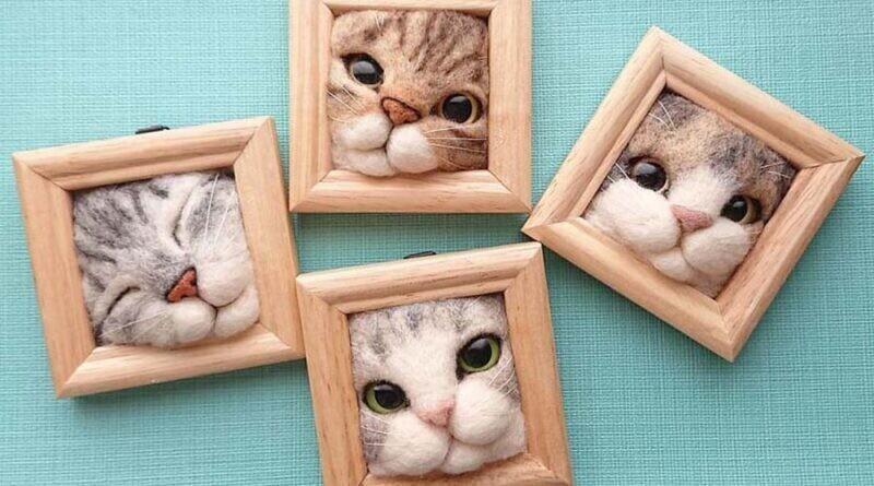 Японка создает забавные кошачьи мордочки, застрявшие в рамках (25фото)
