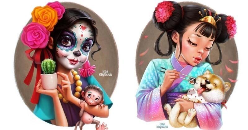 Русская художница нарисовала очаровательные мультяшные версии девушек из разных стран (11фото)