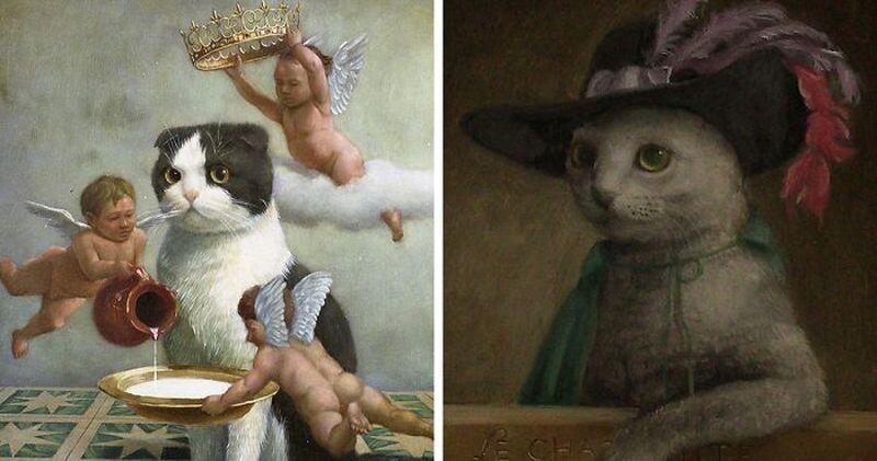 Царственные коты в работах талантливого японского художника (12фото)