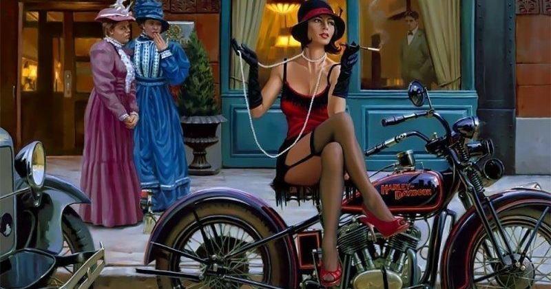 Бог мото-арта Дэвид Уль и его красотки Harley-Davidson (19фото)