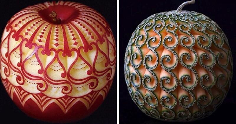 Потрясающее искусство: художница вырезает тайские узоры на фруктах и овощах (31фото)