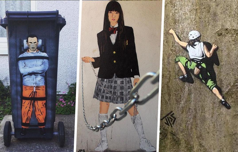 Уличный художник создает крутые граффити, которые взаимодействуют с окружающими вещами (22фото)