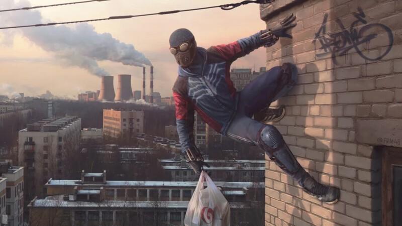 Российский художник показал человека-паука из сибирской провинции (14фото)
