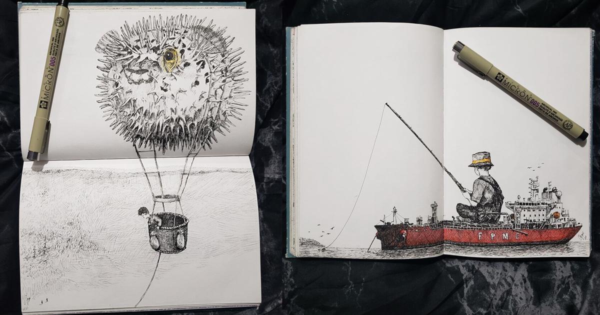 Карантинный скетчбук: сказочные работы художника в изоляции (53фото)