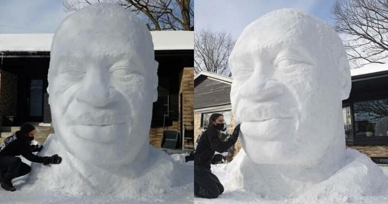 Канадский художник слепил снеговика в виде Джорджа Флойда, но не учел, что снег - белый (6 фото)