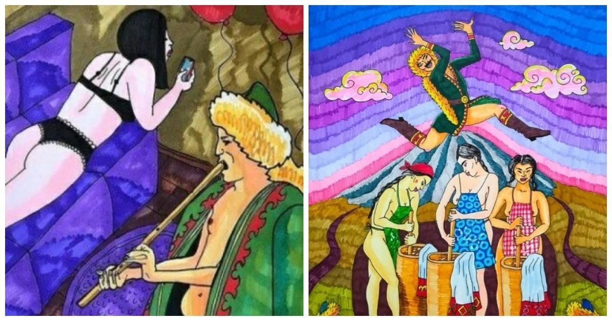 Оскорбила чувства: художнице из Уфы угрожают за эротические рисунки людей в башкирских нарядах (11фото)