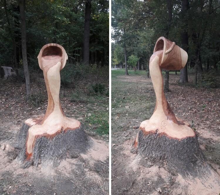 Румынский художник превратил старый пень в потрясающую скульптуру (8фото)