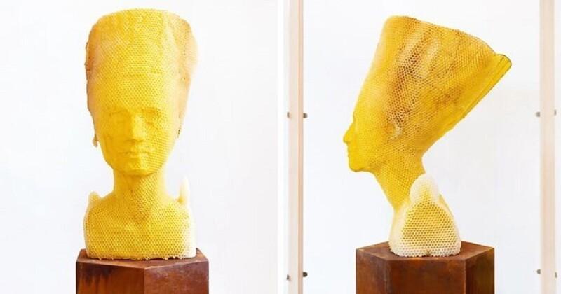 Пчелы помогли художнику создать бюст Нефертити (17фото)