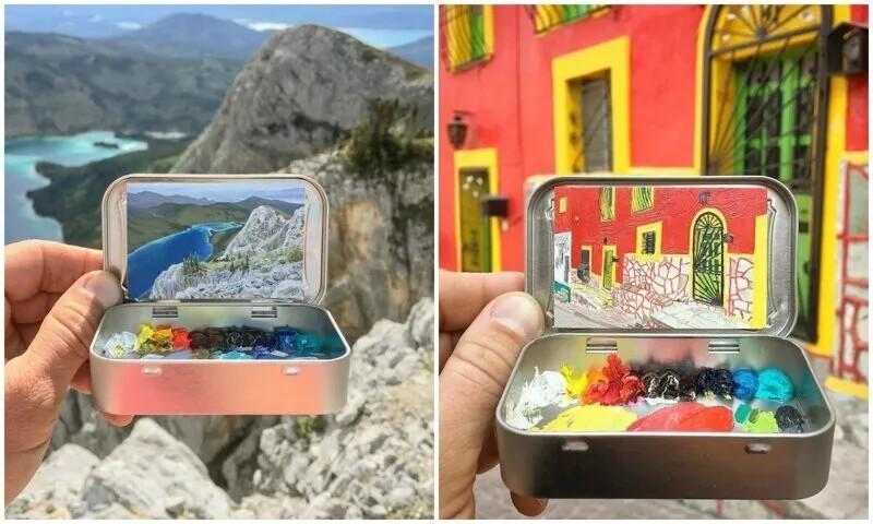Художник рисует мини-копии пейзажей в коробочках из-под леденцов (36фото)