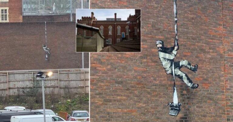 Новая картина Бэнкси на стене бывшей тюрьмы (3фото)