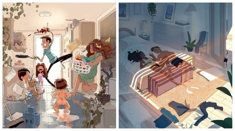 Художник документирует идиллические моменты жизни с женой и детьми (31фото)
