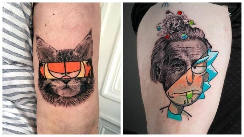 Смешение двух художественных стилей: 45 татуировок-гибридов от Мэта Руле (46фото)
