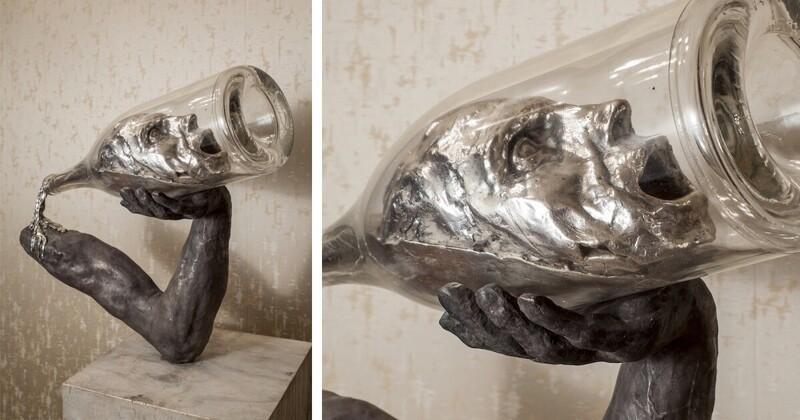 Скульптор показал тяготы алкоголизма в стекле и бронзе (5фото)