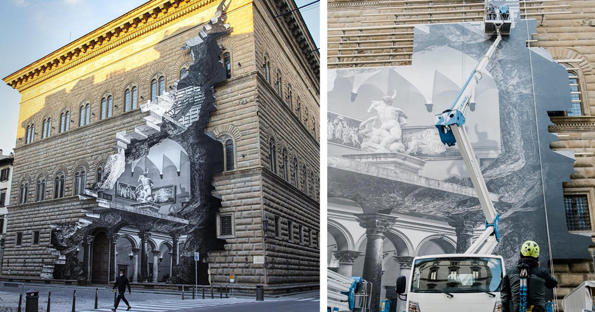 Художник символически «открыл» музей во Флоренции, разместив на фасаде фотоколлаж интерьера (8фото)