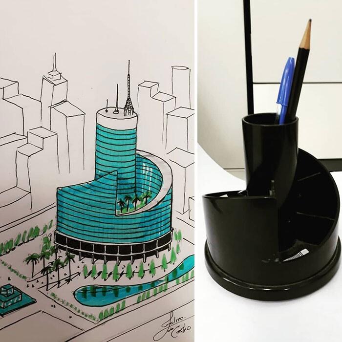 Архитектор рисует здания, вдохновляясь повседневными предметами (30фото)