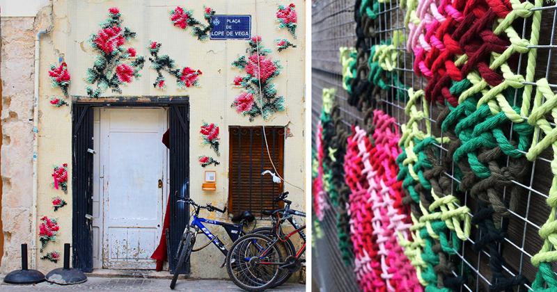 Городские цветы: художница украшает испанские улочки цветочной вышивкой (11фото)