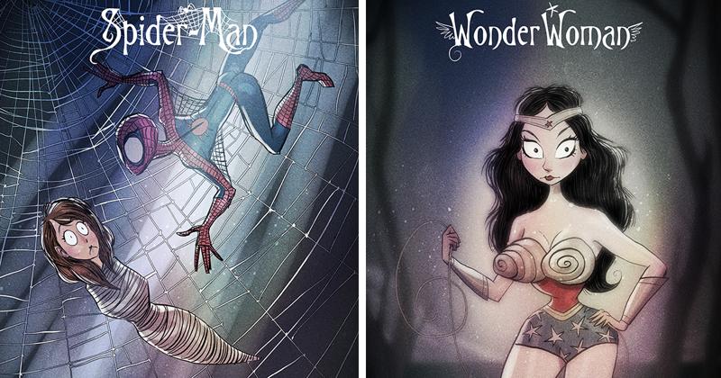 Как бы выглядели супергерои, если бы комиксы иллюстрировал Тим Бертон (11фото)