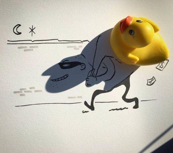 Художник превращает тени от обычных объектов в забавные иллюстрации (12фото)