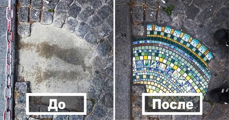 Художник ремонтирует родной город, заделывая выбоины на дорогах мозаикой (31фото)