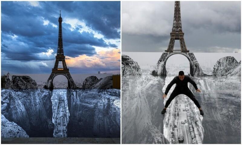 Художник создал оптическую иллюзию перед Эйфелевой башней (11фото)