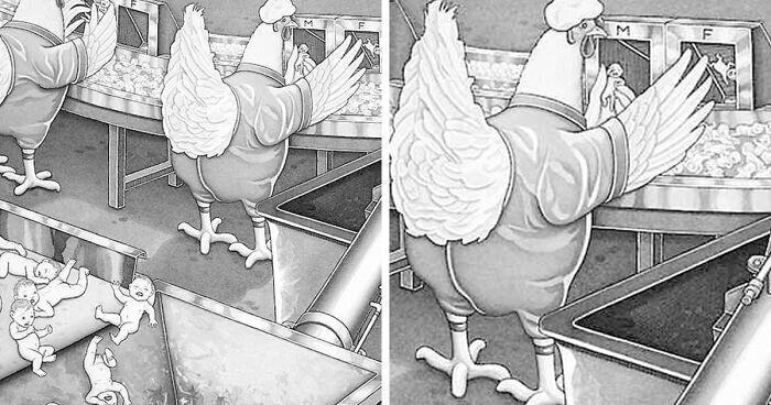 Художник создает иллюстрации, где люди и животные играют противоположные роли (52фото)