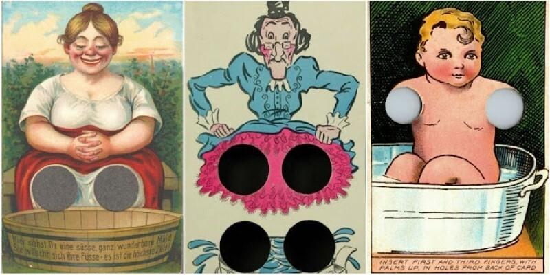 Забавные интерактивные открытки с отверстиями для пальцев, начало XX века (11фото)
