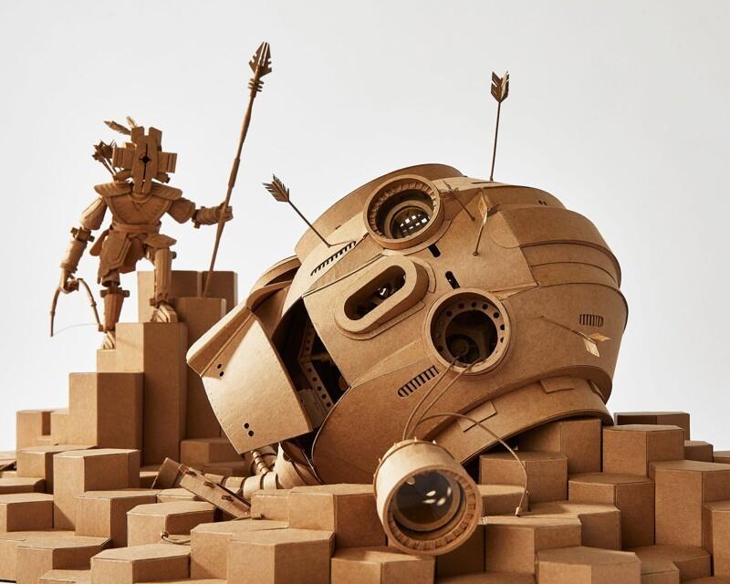 Любовь, смерть, картонные роботы: футуристичные скульптуры Грега Олийника (9 фото)