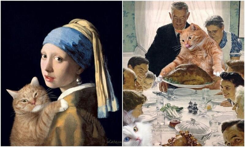 Заратустра - кот, который побывал на шедеврах мирового искусства (16фото)