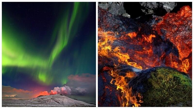 Фотограф снял извержение вулкана на фоне северного сияния (8фото)