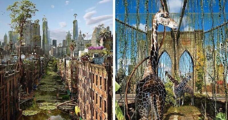 Города без людей: цифровые фантазии на тему постапокалипсиса (40фото)