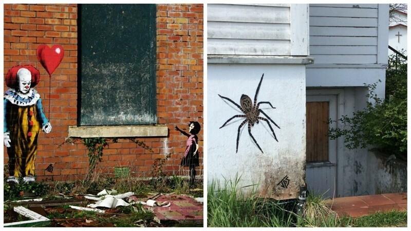 Художник создает граффити, которые идеально вписываются в окружающее пространство (36фото)