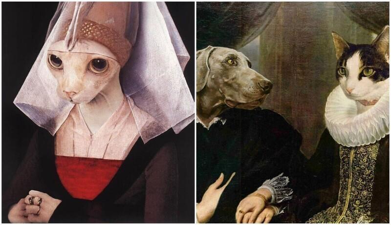 Дизайнеры заменили людей на животных на шедеврах искусства (35фото)