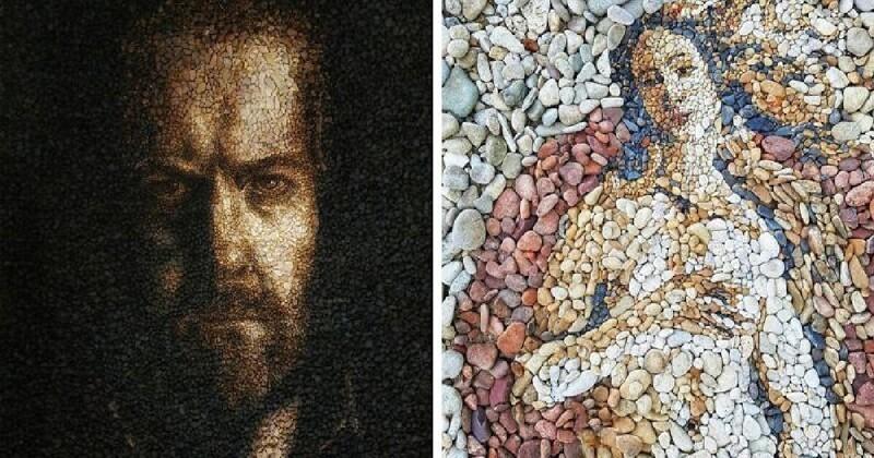Музей на пляже: художник воссоздает известные картины с помощью разноцветной гальки (27фото)