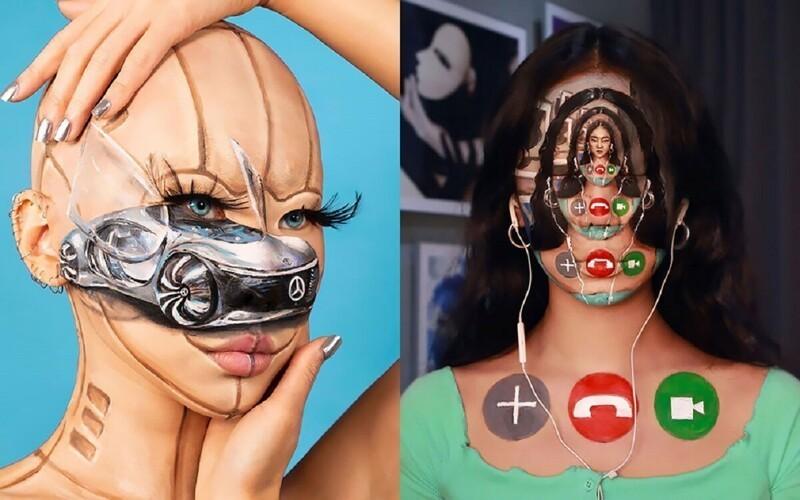 Корейская художница создает невероятные оптические иллюзии на собственном теле (33фото)