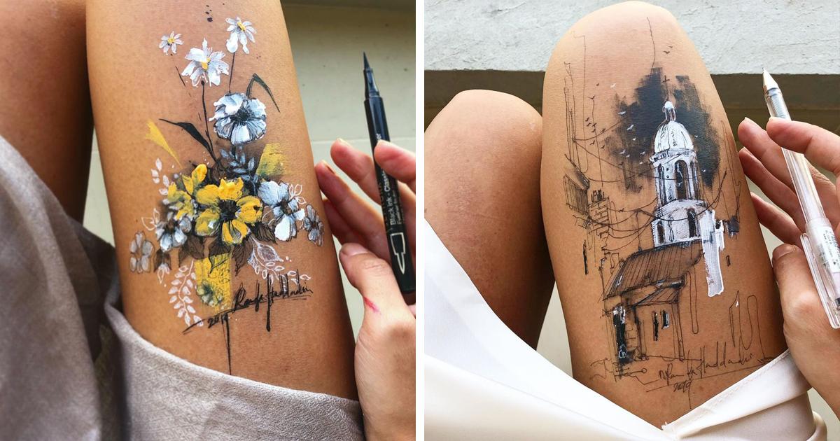 Художница создает потрясающие рисунки тушью, используя свои бедра как холст (31фото)