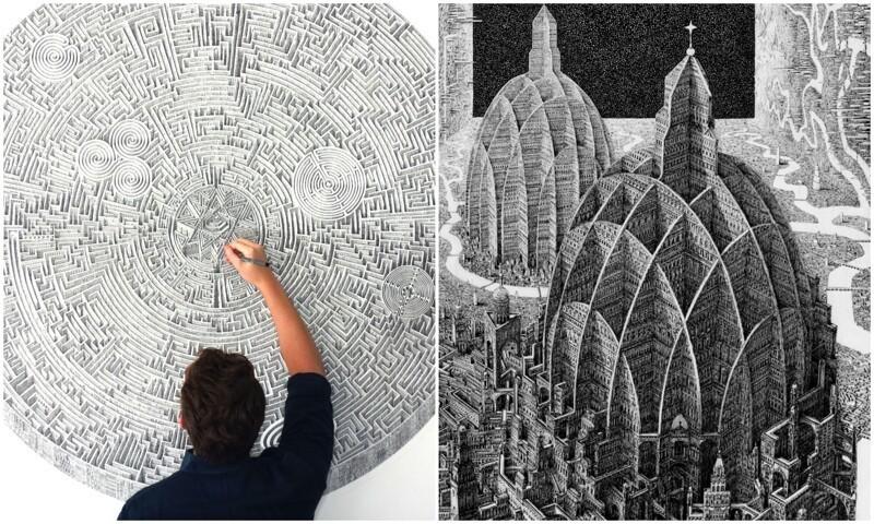 Художник рисует невероятно детальные мегаполисы обычной ручкой (17фото)