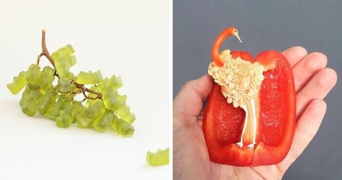 Забавные иллюзии из простых продуктов. Доброе утро и приятного аппетита! (31фото)