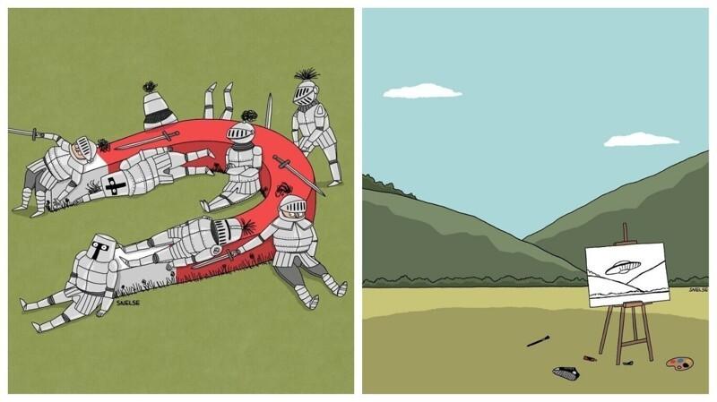 Забавные минималистичные картинки от Стива Нельсона (26фото)