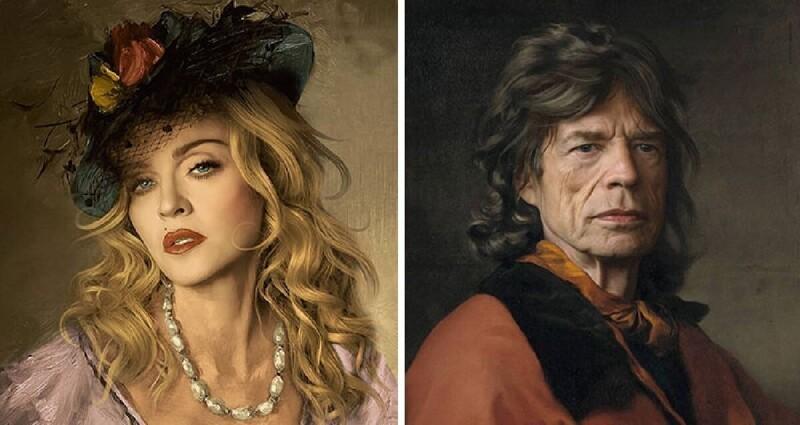 Французский художник рисует портреты знаменитостей в классическом стиле (36фото)