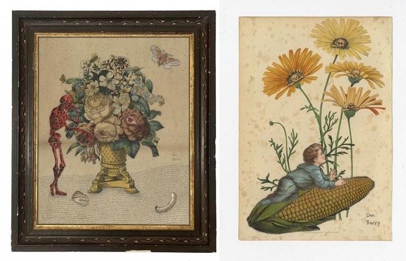 Уникальные коллажи Дэна Бэрри, включающие ботанику и темы смертности (16фото)