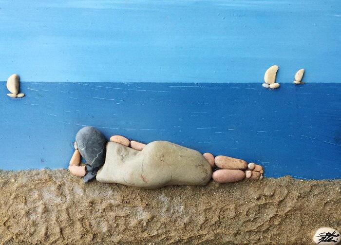 Картинки из пляжных камней (19фото)
