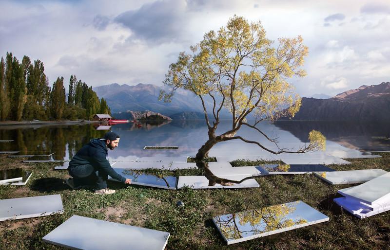 Художник, который так забавно обыгрывает известные пейзажи (13фото)