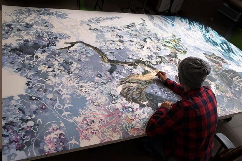 Японский художник трудился в течение 3,5 лет, каждый день по 10 часов, и создал удивительную картину (10фото+1видео)