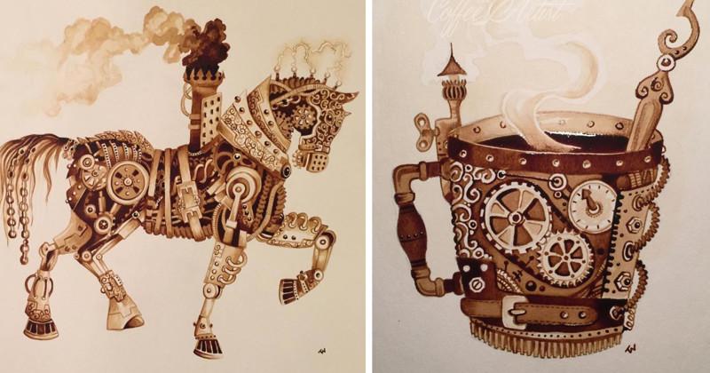 Художница рисует стимпанк, используя только натуральный кофе (8фото)