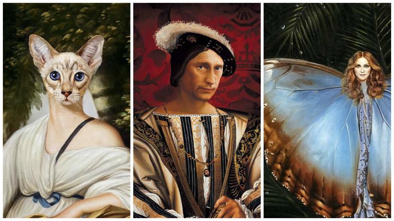 Чудаковатые портреты знаменитостей от художника Никаса Сафронова (24фото)