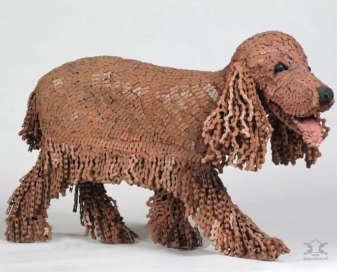 Художница создающая собак из велосипедных цепей (16фото)