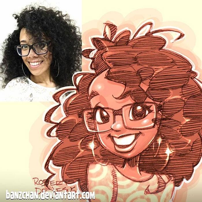 Иллюстратор превращает фотографии незнакомцев в персонажей аниме (17 фото)